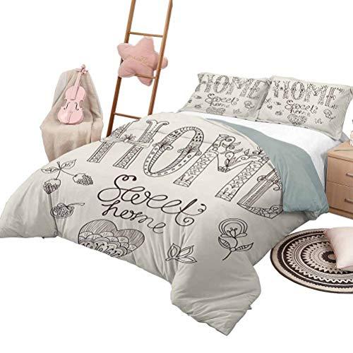 Tagesdecke Bettdecke Set Home Sweet Home Luxe Bettwäsche 3 Stück übergroße gesteppte Tagesdecke Bettdecke Set Typografie Illustration mit floralen Elementen und kunstvollen Herz Figur voller Größe dun