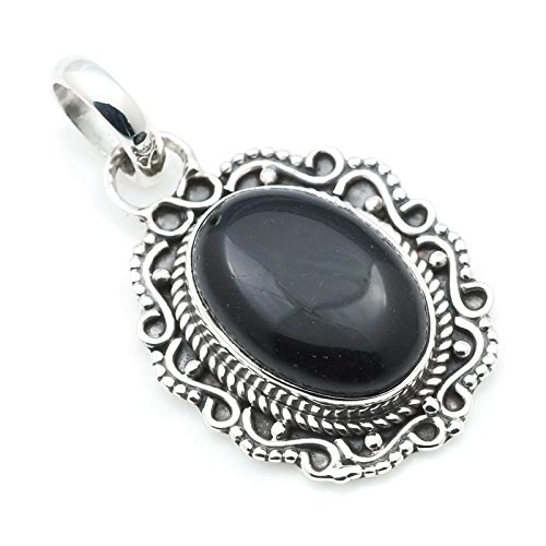 Kettenanhänger Amulett Silber 925 Sterlingsilber Onyx schwarz Stein (Nr: MAH 106-03)