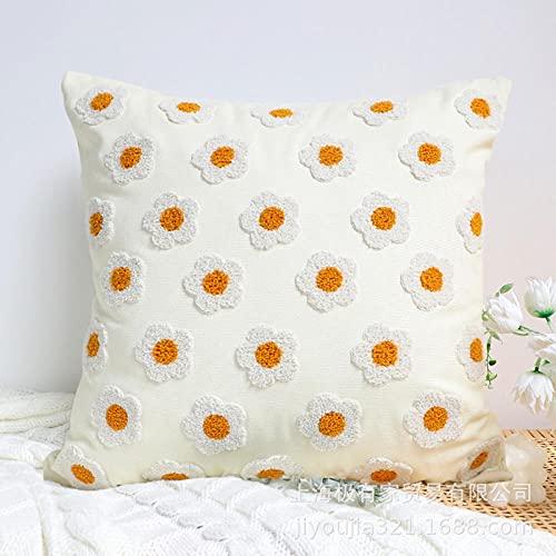 Almohada,Diseño ergonómico para un Mejor Soporte para Dormir en la Cabeza, el Cuello y los Hombros Almohada -Almohada Cuadrada de Flor Amarilla_45 * 45cm
