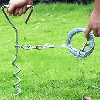 ZZM Câble et piquet d'attache pour chien en acier inoxydable Laisse longue et piquet en spirale pour cour, jardin, camping, extérieur, Silver, 5 m