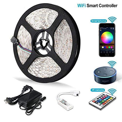 Strisce LED, WFI Smart Strip Lights 5050 RGB App Telecomando Supporto Dimming Aexa per Soggiorno Camera da Letto Hotel Holiday Decoration,5m