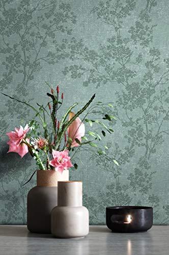 NEWROOM Tapete Grün Vliestapete Blumen - Blumentapete Floral Weiß Dunkelgrün Blätter Blüten Mustertapete Modern Natur inkl. Tapezier-Ratgeber