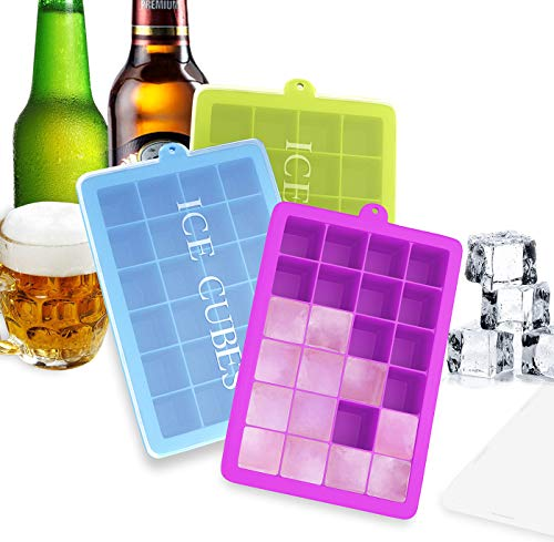 Ozera 3 Pack Silicone Ice Cube Trays with Lids, Ice Molds Ice Tray 24 Cavities Ice Cube Molds for Cocktail, Whiskey, Candy, Chocolate and More
