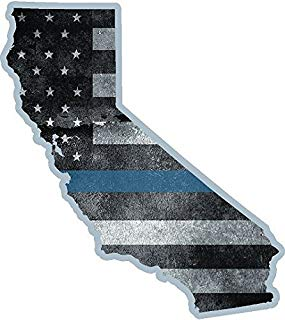 Vinyl Overlays 720 California State Thin Blue Line Decal CA Tattered American Flag Sticker Car Bumper Window VAR