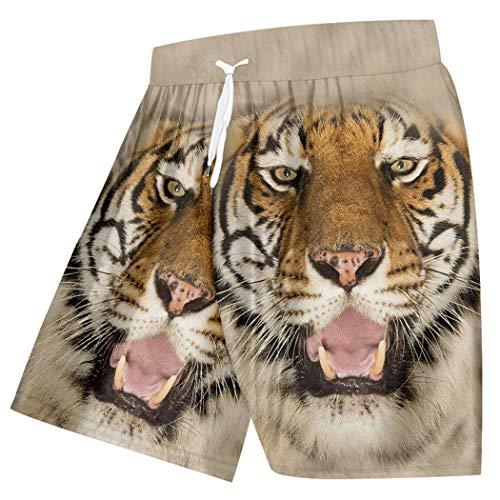 Short de Plage d'été à Motif de Tigre féroce pour Hommes, imprimé en 3D, Couple d'animaux Jaunes, vêtements de Sport surdimensionnés Tiger XXL