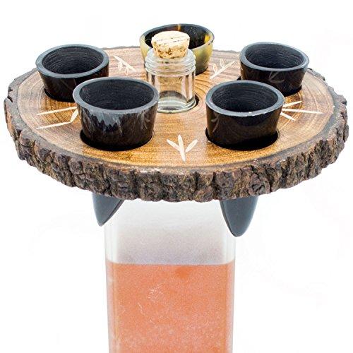 Norse Tradesman Echtes Trinkhorn Schnapsglas 5er-Set mit rustikalem Holzständer (Naturholzrand) | Mit eingravierten nordischen Runen| In Geschenksack aus Leinen verpackt