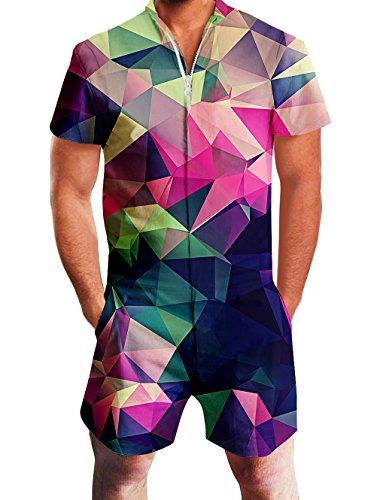 ALISISTER Onepiece Jumpsuit Kurze Herren Overall Strampler Sommer Party Home Overalls für Männer mit 3D Blau Rot Geometrie Drucken M