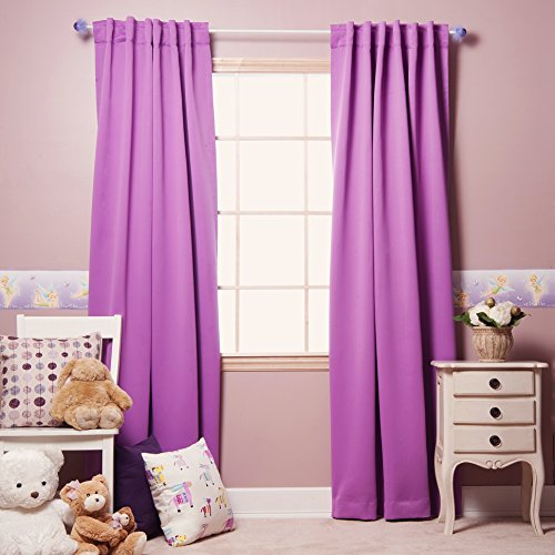 Best Home Fashion Thermal Insulated Blackout Curtains - Back Tab/Rod Pocket - Violet - 52' W x 108' L - (Set of 2 Panels)