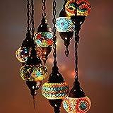Lámparas de mosaico turco marroquí para colgar en el techo, estilo oriental, auténtica iluminación 7 globo medio