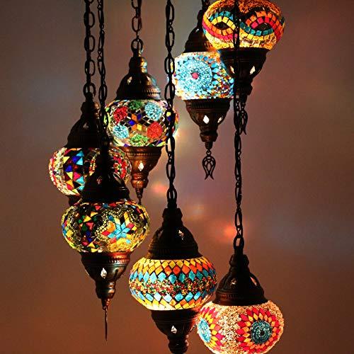 Türkische marokkanische Mosaik-Lampen zum Aufhängen an der Decke im orientalischen Stil, authentische Beleuchtung, 7 mittelgroße Globus