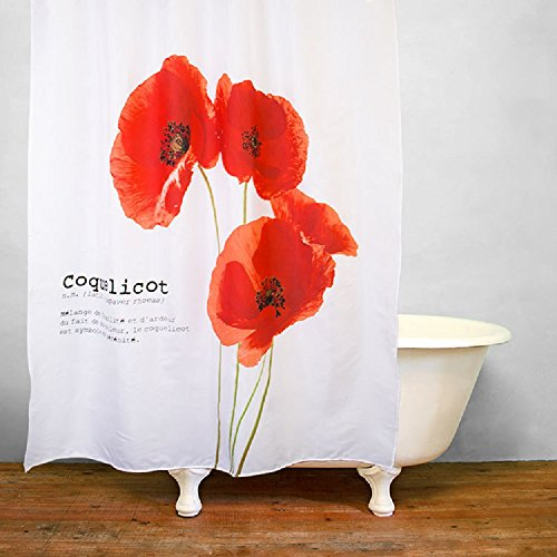 Get Orange Vintage Red Poppy Flower Trumpet Flower Waterproof Fabric Polyester Shower Curtain Set with Hooks72 X 79 Inches