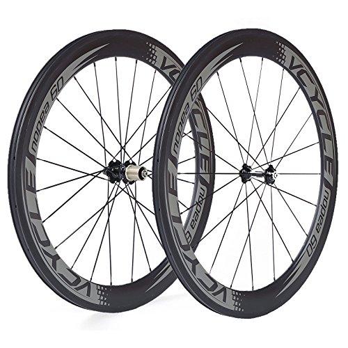 VCYCLE Nopea 700C Carbon Rennrad Laufradsatz 60mm Schlauchreifen Röhrenförmigen 23mm Breite nur 1585g Shimano oder Sram 8/9/10/11 Speed