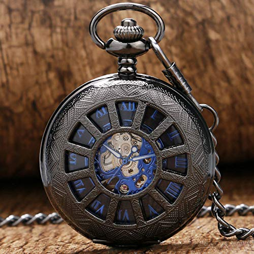 NOBRAND Reloj de Bolsillo, Diseño de Caja de Ruedas de Carro de Moda con Reloj de Bolsillo Colgante de Esqueleto mecánico con número Romano Azul y Cadena