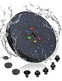 KUTAO Bomba Solar para Estanque, Fuente Solar Bomba Circular de 3W con 7 Estilos de Boquillas y Luces LED de Colores, Bomba Solar para Exterior para Baño de Pájaros /Estanque /Decoración de Jardín