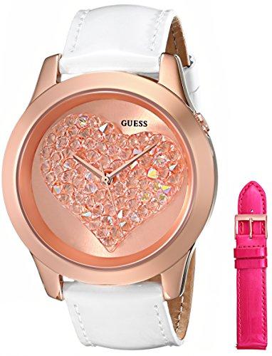 Guess Mujer u0528l1Intercambiables Armario Rosa Tono Dorado corazón Reloj Conjunto con Bandas de Piel auténtica en Color Blanco y Rosa