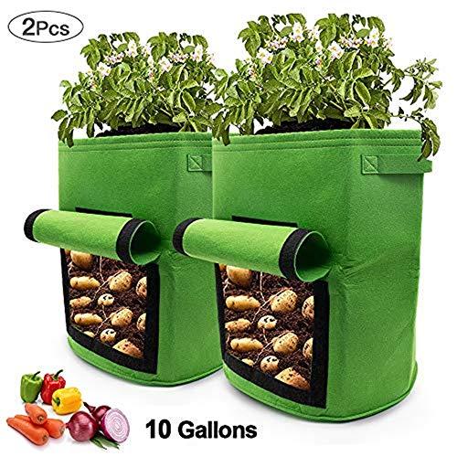 APERIL Sac de Culture pour Pommes de Terre, 2 x 10 Gallons, Sacs de Plantation de légumes, Sac de Plantation en Tissu Respirant et Durable avec Rabat d'accès
