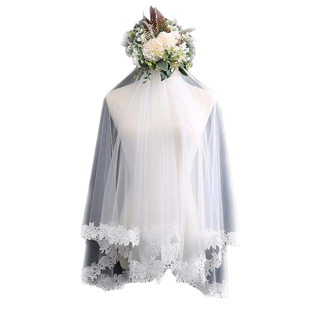 ラメカナダ写真を撮る刺繍裾レースチュールブライダルベール#4と結婚式のベール