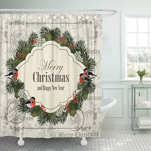 FORHAPPY Duschvorhang Bunte Girlanden Weihnachten & Neujahr Dompfaffen Tannenzweige Ebereschenbeeren Vintage grün Duschvorhang wasserdicht