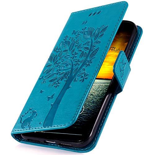 MoreChioce kompatibel mit Samsung Galaxy A50 Hülle,kompatibel mit Galaxy A50 Leder Hülle Flip Case,Premium Blau Katze baum Handyhülle Ledertasche Klapphülle Magnetverschluß mit Karte
