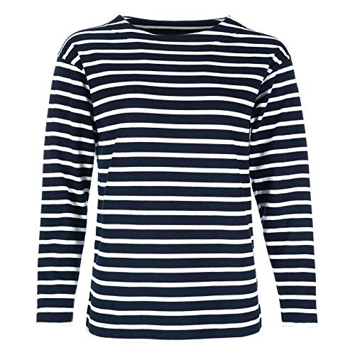 modAS Bretonisches Damen Fischerhemd Langarm Streifen Hemd blau/weiß gestreift 2500D_05 Größe 36 (Damen) / 44 (Herren)