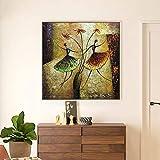 hetingyue Toile Peinture Calligraphie Abstraite Aquarelle Mur oeuvre Danse Fille Affiches et Impressions Famille Salon décoration sans Cadre Peinture 60x60 cm