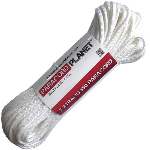 PARACORD PLANET MilSpec Commercial Grade 550lb Type III Nylon Paracord Solid Colors White 50 Feet