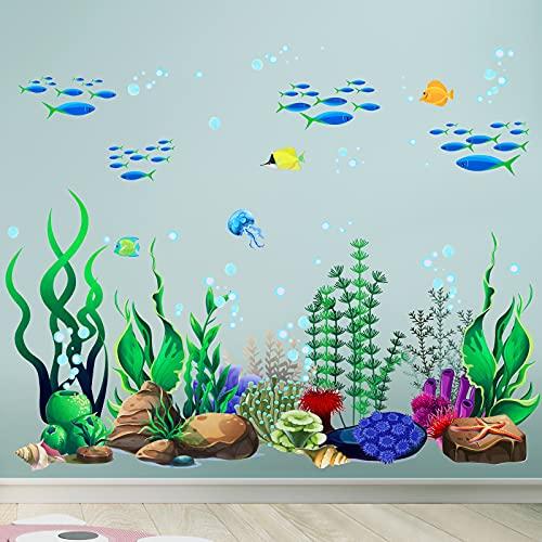Under The Sea Wall Decals Coral Reef and Seaweed, Ocean Wall Decals Stickers, Undersea Decor Stickers, Underwater Sea Wall Stickers for Toddler Baby Nursery Bedroom Living Room Bathroom Office