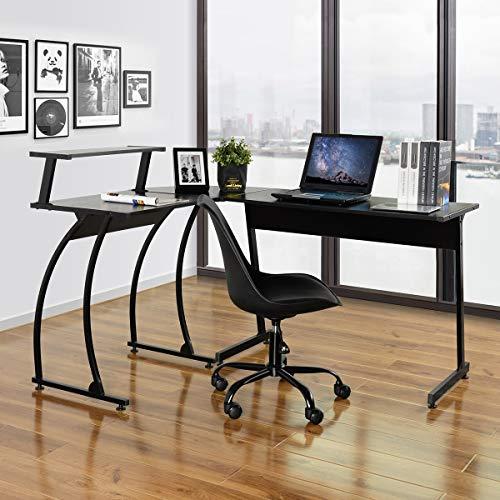 Computer Desk,FurnitureR Modern L Shaped Corner Gaming Desk Workstation Study Desk with with Large Monitor Stand Home Office Living Room 147.5x112x75-95cm