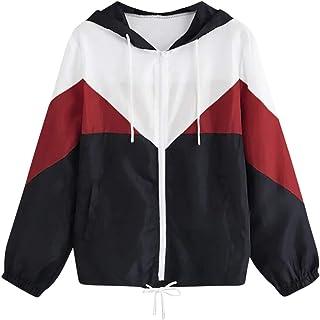 Xmiral Hoodie Felpa Donna Patchwork Manica Lunga Patchwork Skinsuits Sottile Skinsuits con Cappuccio con Cerniera Tasche Sport Coat