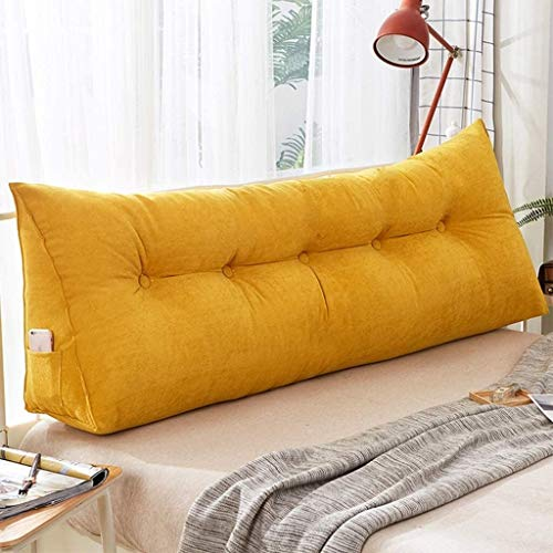 xjm Sofa Bed Upholstered Cushion Headboard Reading Backrest Support Triangular Large Wedge Pillow Double Bed Long Lumbar Pillow (Color : Yellow, Size : 120 * 23 * 50cm)