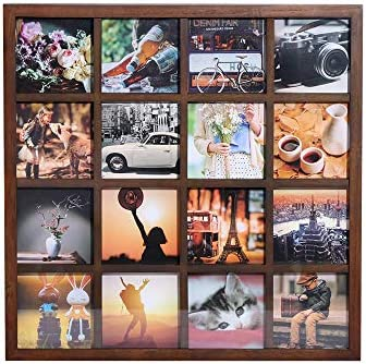 4x4 Wooden Picture Frame Displays 16 Square 4 by 4 inch Photos Illustrations Art Graphic Text product image