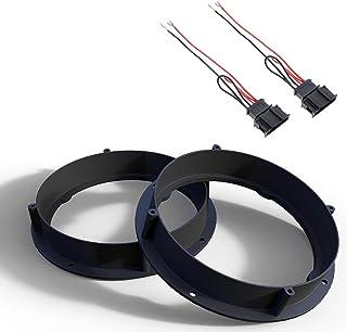 Audioproject A416 - Set luidsprekerringen + adapterkabel compatibel voor VW Golf 6 7 Passat Bora Beetle SEAT Leon Toledo A...