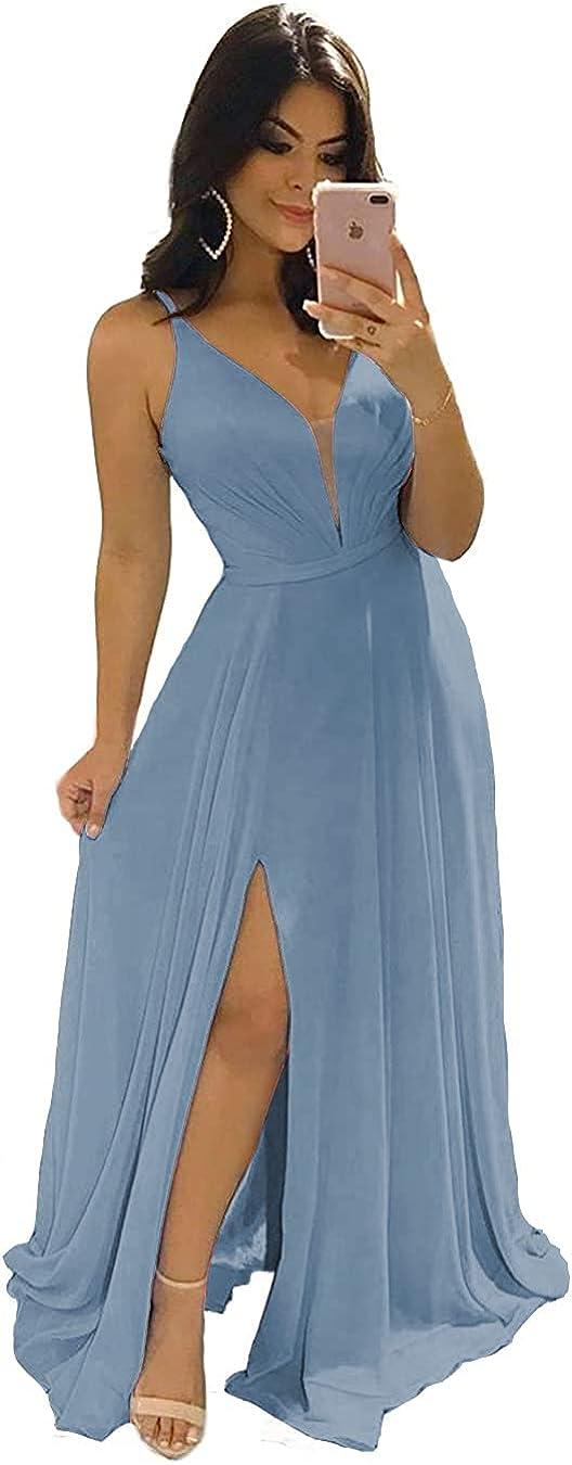 PAVERJER Women's V Neck A Line Slit Bridesmaid Dresses Long Backless Prom Dress Formal Evening Gown