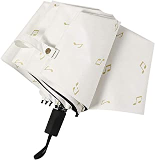 ZYSWP Foldable Style Music Symbol Pattern Pocket Umbrella Weatherproof Umbrella Outdoor Travel Umbrella (Color : White)