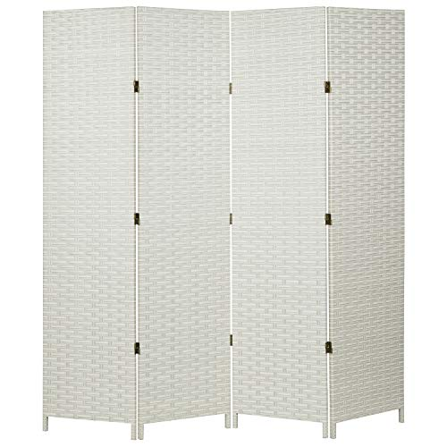 MyGift Folding Room Divider, Standing 4 Panel Woven Privacy Screen, White
