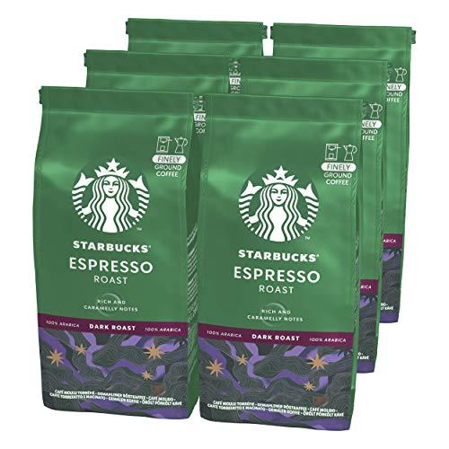 STARBUCKS Espresso Roast Filterkaffee, Röstkaffee gemahlen, Dunkle Röstung (6 x 200g)