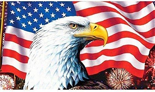 Diamond Painting Round Drill 5D DIY Set Rhinestone Flag with Eagle Cross Hobby Art Happy Year Decoration 40X50Cm