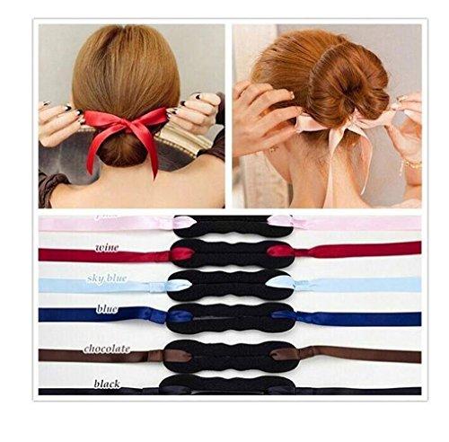 Juego de 3 accesorios para el pelo para mujeres y niñas, color negro + rojo + rosa con lazo esponja para hacer moños y moños