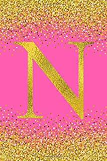 """N: Cute Initial Monogram Notebook Letter N, Pretty Pink & Gold Confetti Glitter, Lined Composition Notebook, Size """"6x9"""" inch, 120 Ruled Pages, Perfect Birthday Gift Idea for Girls."""