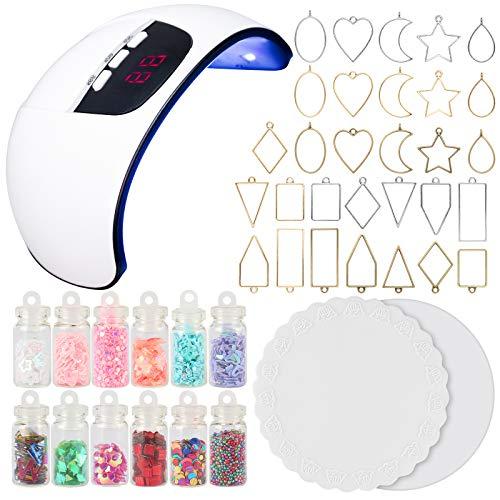 UV Resin Jewelry Making Supplies Set 54W UV Lamp Dryer, Bezel Charms, Glitter Jars, Silicone Mats 45-kit
