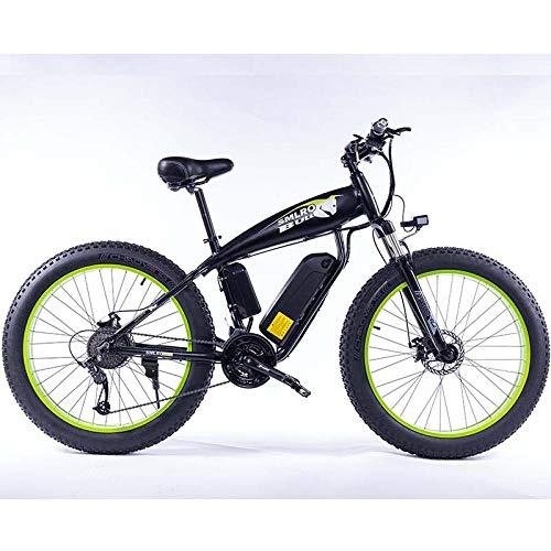DASLING Electric Mountain Bike Use Lithium Battery Booster Motor 48V 350W Speed 25Km / H with 26 Inch Tire-Schwarz Und Grün
