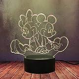Kid Anime Comic Decoración Creativa Luz de Noche 3D Novedad Lindo Mickey Minnie Mouse LED Lámpara de Mesa de Escritorio USB Touch Remoto Lava Colorida Bombilla Niño Niña Regalo de Cumpleaños