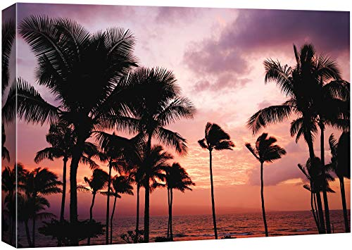 B2T NWT Canvas Wall Art Palm Tree Sunset Avenue, Glory Afternoon Painting Artwork for Home Prints Framed - 24x36 inches