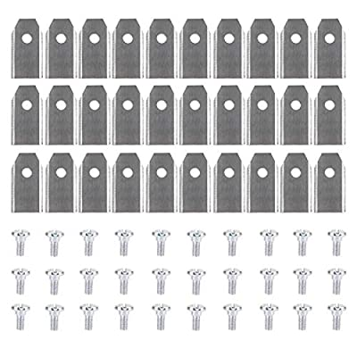TechCode Automower Blades Kits, 30pcs 0.75MM Titanium Coated Stainless Steel Lawn Mower Blade Replacement + Screw Parts for All Husqvarna Automower/Gardena Robotic Lawnmowers (Silver)