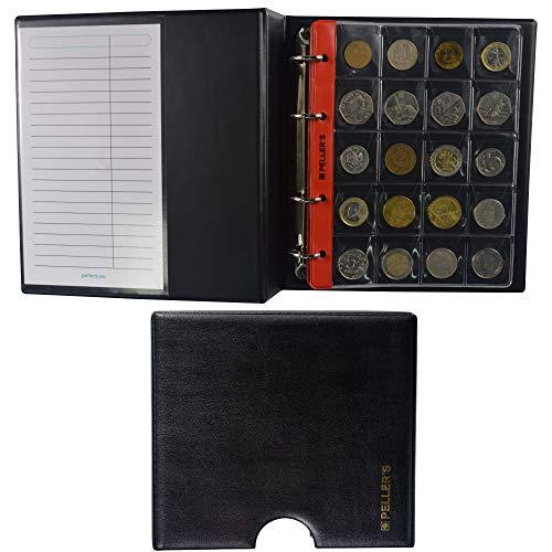 PELLER'S Álbum de colección M, para 206 Monedas de tamaño Mix: Grande, Mediano y pequeño, 10 Fundas y cartulinas separadoras. (Modelo M con Cajetin)