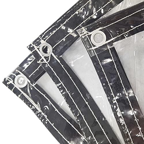 LYRONG Lona Transparente Impermeable, PVC Lona Plegable Lonas Impermeables Exterior, con Ojales, para Casa/Jardín/Exteriores y Camping, Cuerda incluida, 380 g/m²,Transparent_2.2x2.5m/6.6x7.5ft