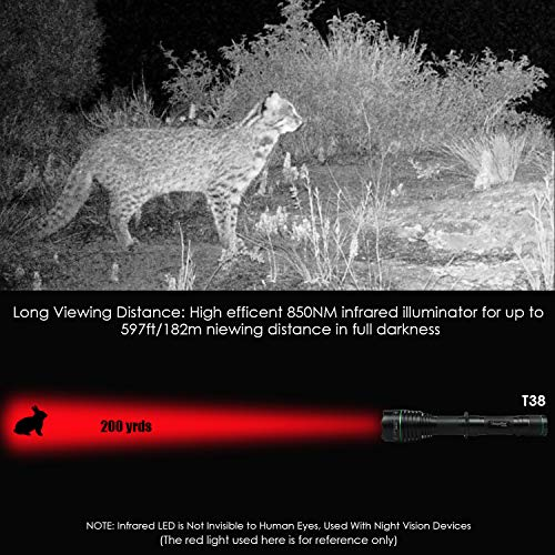 T50 Hunting NV IR Torch KIT, 5W, SFH 4715AS 850nm,Night Vision 丨Infrared Night Zoomable LED Flashlight,3 Modes with Memory Setting