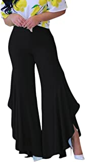 Womens Elastic Waist Slit Flounce Flared Bottom Wide Leg Pants(5 Colors)