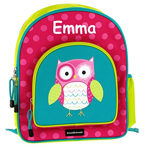 Crocodile Creek Personalized Kids Whimsical Owl School or Travel Backpack - 14 Inches