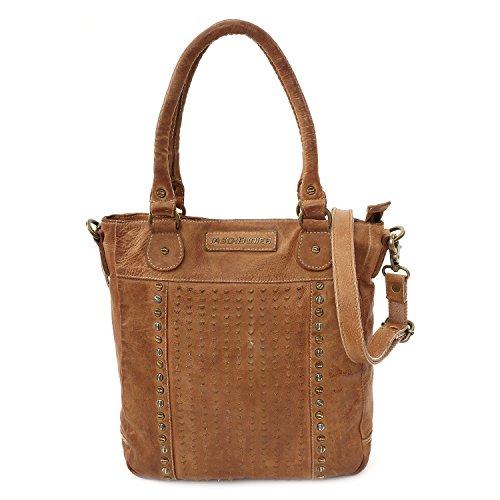 Taschendieb Wien Leder Handtasche Schultertasche Handbag Tasche TD0621, Farbe:Apricot
